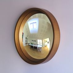 Pazzo 27 Decorative Convex Mirror in Brushed Gold Side View A modern convex mirror from designer Matthew Buck. Convex Mirror, Round Mirrors, Side View, Most Beautiful, Optimism, Interior Design, Frame, Modern, Copper