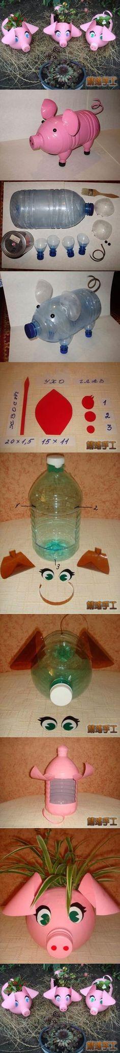 piglet planter made from plastic bottles M