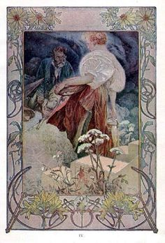 The Beatitudes, with illustrations in color by Alphonse Mucha. Plate 4: Blessed are the merciful, for they shall obtain mercy. Published in Everybody's Magazine, Christmas, 1906