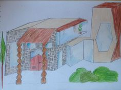 Drawing#crazy#idea#strange#house#pencils#colours#big#windows#glass#wood