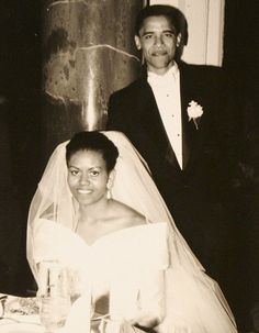 Barrack and Michelle Obama's wedding day.