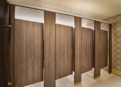 Ironwood Manufacturing laminate toilet partitions with zero sightline doors add privacy for a public commercial restroom. Washroom Design, Bathroom Design Small, Bathroom Interior Design, Modern Bathroom, Industrial Bathroom, Master Bathroom Shower, Bathroom Doors, Bathroom Toilets, Wc Public