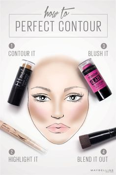 Simple contouring is one of the best ways to refine your makeup look, pretties. We like to call it 'face game' and here's how to learn it, live it, and work it with the best of them: 1) use FITMe! shine-free concealer above your brows and under your cheekbones, 2) Dream Lumi highlighter along the bridge of your nose, 3) your cupid's bow and tops of your cheeks, and 4) Master Glaze blush along your cheekbones. Blend for beautiful results.