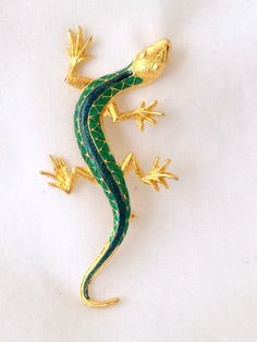 Salamander Enamel Brooch Gold Tone
