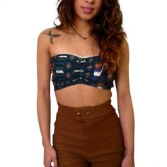 Aztec Tribal Print & Lace Stretch Bandeau- Black/Blue