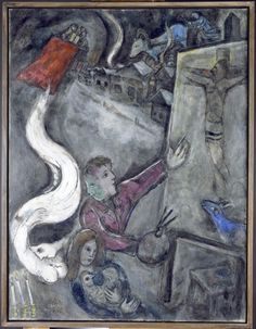 Surrealism style Oil on canvas painting by Marc Chagall. Marc Chagall, Pablo Picasso, Chagall Paintings, Art Sur Toile, Jewish Museum, Jewish Art, Henri Matisse, Oeuvre D'art, Les Oeuvres