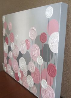 Pink and Grey Textured Flower Nursery Art, Original Painting on Canvas, Custom Sizing – Malen – etexture Flower Nursery, Nursery Art, Girl Nursery, Nursery Decor, Diy Arts And Crafts, Diy Crafts, Pink Bedroom Decor, Pink Bedrooms, Bedroom Ideas