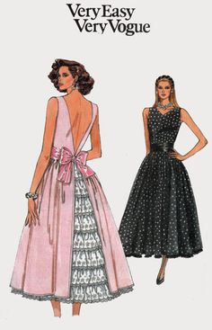 1980s Dress and Petticoat with Low V Back Very Easy Vogue 9930