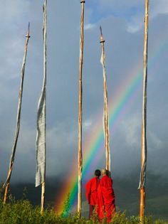 Rainbow and Monks with Praying Flags Phobjikha Valley Gangtey Village Bhutan Canvas Art - Keren Su DanitaDelimont x Rainbow Gathering, Buddhist Monk, Tropical Art, Cool Posters, Buy Posters, Ways Of Seeing, Over The Rainbow, Yosemite National Park, Buddhism