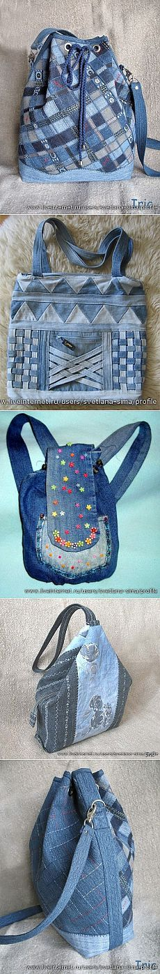 Great denim recycled looks from: Из старых джинсов Jean Crafts, Denim Crafts, Patchwork Bags, Quilted Bag, Jean Purses, Purses And Bags, Mochila Jeans, Sacs Tote Bags, Diy Jeans