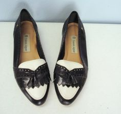 vintage Etienne AIGNER Black and White Oxford Shoes. (NEED these in my life)