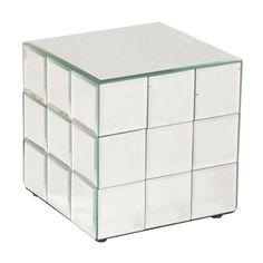Howard Elliott Short Mirrored Puzzle Cube Pedestal - 11045