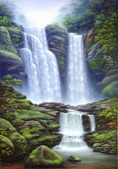 Most Beautiful Waterfalls Painting In Oils Photography   Funees.com