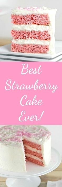 Best Strawberry Cake Ever RoseBakes This cake is dense enough to hold up to stacking and is a delicious, perfect dessert for any occasion. Just Desserts, Delicious Desserts, Dessert Recipes, Baking Desserts, Bolo Cake, Torte Cake, Strawberry Cake Recipes, Strawberry Ideas, White Strawberry