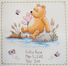 How adorable! Perfect baby gift! Personalized cross stitch, birth record for baby's room. Proudly show baby's name, birthday & weight. $29.99