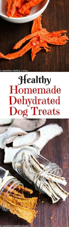 Healthy Homemade Dehydrated Dog Treats - turkey, sweet potatoes, carrots and celery from making turkey stock are pureed and then dehydrated; banana slices and sweet potato slices are also dehydrated ~ http://jeanetteshealthyliving.com