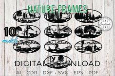 Nature Frames Wild Nature Laser cut Laser cut patterns   Etsy Cnc Router Plans, Laser Cut Patterns, Laser Cut Files, Cnc Plasma, Oval Frame, Wild Nature, First They Came, Design Bundles, School Design