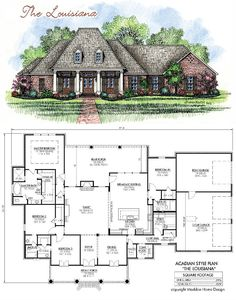 653725 - 1 Story 5 Bedroom French Country House Plan : House Plans ...