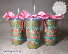 Bachelorette Weekend Cruise Gift Idea! Custom Bachelorette Party Monogram Glitter Tumblers by shopInitiallyYours