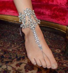 Bohemian WEDDING Bridal Foot Jewelry Rhinestone BAREFOOT SANDALS Size 7-9 Beach Wedding Outdoor Wedding Destination Wedding