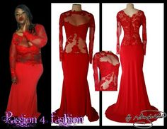 Bright red fitted lace matric dress with a bull lace back. Front with sheer red fabric embelished with lace and red stones. Red sheer sleeves with lace detail and a train. #mariselaveludo #matricdance #passion4fashion #matricdress #lace #lacedress #reddress