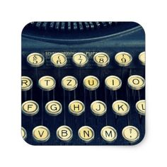 Old Vintage Typewriter Keyboard Keys Classic Round Sticker