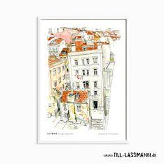 Lisboa * Portugal * Poster * Architectural Drawing * Mediterran * Fine Art to…