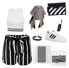 """Stripes partyyyyyyyyyyyy"" by elenaanais on Polyvore featuring Off-White, Venus, adidas, Delpozo, Express and MAC Cosmetics"