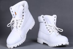 All White Custom Timberland 6 Inch Boots For Women