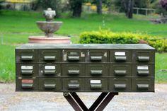 Vintage Metal Industrial Cabinet, Army Green, 18 Drawers, Industrial Storage