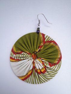 Fabric Earrings, Fabric Jewelry, Etsy Jewelry, Etsy Earrings, Earrings Handmade, Handmade Jewelry, Diy Jewellery, African Earrings, African Jewelry