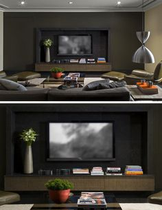 8 TV Wall Design Ideas For Your Living Room // This entertainment system has been set deep into the wall and surrounded with a frame and a shelf to make it the main focus in the room.