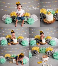 Two Sisters Photography where the wild things are cake smash session, mint and yellow cake smash, modern cake smash session, arrows, wild thing, wild one