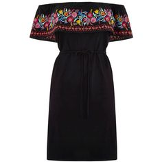 OASIS Embroidered Bardot Dress (£45) ❤ liked on Polyvore featuring dresses, black, frilly dresses, oasis dress, ruffled dresses, flounce dress and embroidery dress