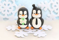 Penguins wedding cake topper winter wedding with by PassionArte