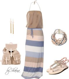 """striped maxi skirt with adorbale pale rose accessories"" by shauna-rogers on Polyvore"