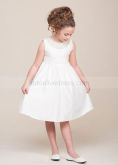 The dress is made of high quality taffeta fabric.It can be made into many other colors.It is in knee length.It features the folded sash and beaded neckline.Perfect for wedding,party,holiday,Baptism,Christening or everyday wear.For Custom Dress, please enter the measurements at Custom Note Box which
