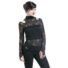Floral Net - Girlie langærmet af Queen Of Darkness - Artikelnr.: 284051 - fra 399,95 kr - EMP Danmark ::: Merchandise ::: Streetwear ::: Mod...