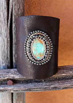 Amazing handmade leather cuff with turquoise and beading..