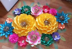 Fiesta Theme Paper Flower Backdrop Large Paper flower