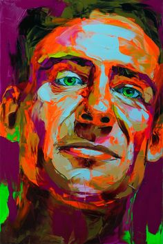 author chuck palahniuk immortalized in another medium - oil/knife painting by francoise nielly