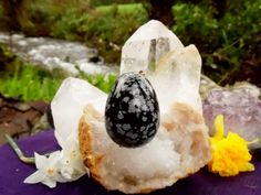 Large Snowflake Obsidian Yoni Egg LSO4 by TheWomanWhole on Etsy