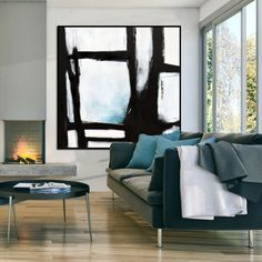 Original Large Abstract Art Painting On Canvas Black White Blue wall art Large Acrylic Painting On Canvas Minimalist Abstract Painting Hand Painting Art, Acrylic Painting Canvas, Large Painting, Black Canvas Paintings, Art Paintings, Abstract Paintings, Minimal Art, Black And White Wall Art, Black White