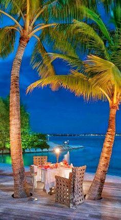 Dinner in the garden at St. Regis Bora Bora Resort in French Polynesia