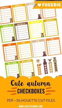 FREE set of cute autumn checklist stickers for your planner: fall colors, animals, checkboxes... More planner freebies on lovelyplanner.com