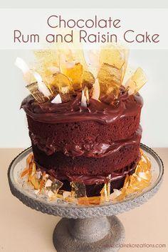 Chocolate rum and raisin cake via www.clairekcreations.com