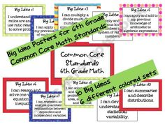 Caught in the Middle Shop - 6th-grade-math-common-core-big-idea-posters | Teachers Notebook