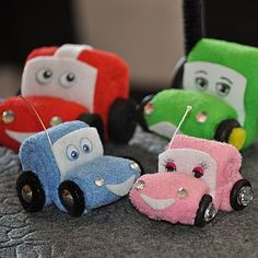 Cars made of baby washcloths....for diaper cake topper.
