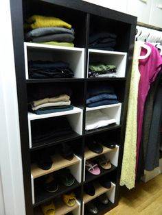 little corner house: Ikea Hack: Expedit inserts for the closet. Instructions on how to hack together half shelf inserts.