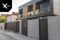 Modern fence by Xcel - architectural concrete walls and Arete Pure gates. The modern . Fence Gate Design, Modern Fence Design, House Gate Design, Facade Design, Modern House Design, Exterior Design, Modern Gates, Fence Gates, Fencing